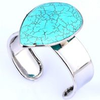 Silver Plated Open Style Turquoise  Bracelet